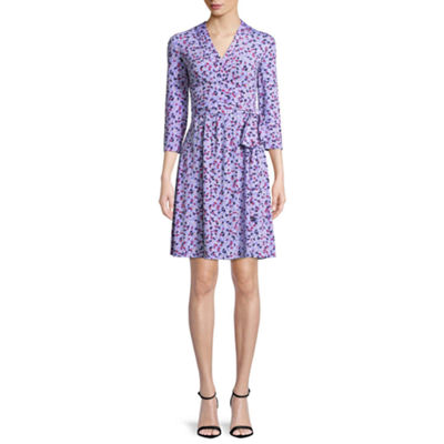 Liz Claiborne 3/4 Sleeve Leaf Wrap Dress