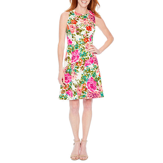 Liz Claiborne Sleeveless Floral Fit Flare Dress
