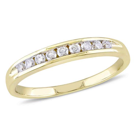Womens 1/4 CT. T.W. Genuine White Diamond 14K Gold Wedding Band