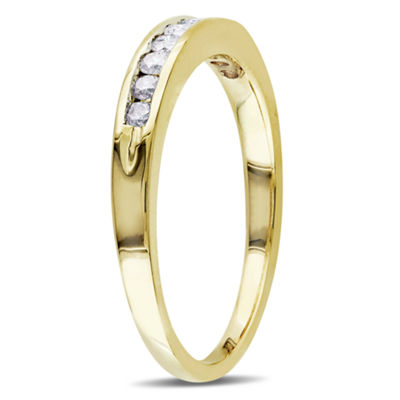 Womens 1/4 CT. T.W. Genuine White Diamond 14K Gold Wedding Band
