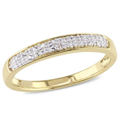 Womens 1/10 CT. T.W. Genuine White Diamond 10K Gold Wedding Band