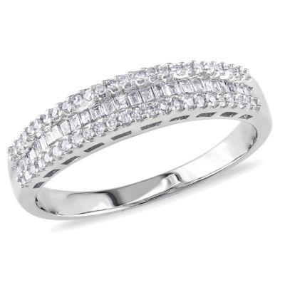 Womens 1/3 CT. T.W. Genuine White Diamond 10K Gold Wedding Band