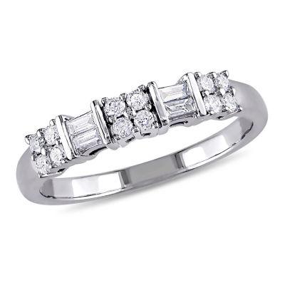 Womens 1/4 CT. T.W. Genuine White Diamond 10K Gold Wedding Band