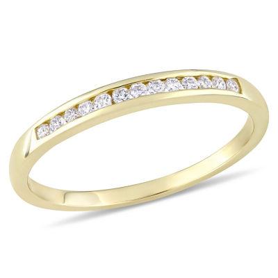 Womens 1/8 CT. T.W. White Diamond 10K Gold Wedding Band