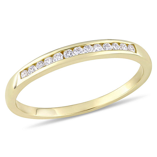 Womens 1/8 CT. T.W. Genuine White Diamond 10K Gold Wedding Band