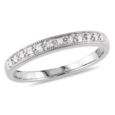 Womens 1/10 CT. T.W. White Diamond 10K Gold Wedding Band
