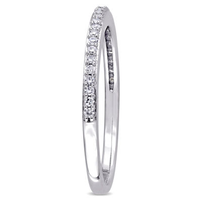 Womens 1/8 CT. T.W. Genuine White Diamond 14K Gold Wedding Band
