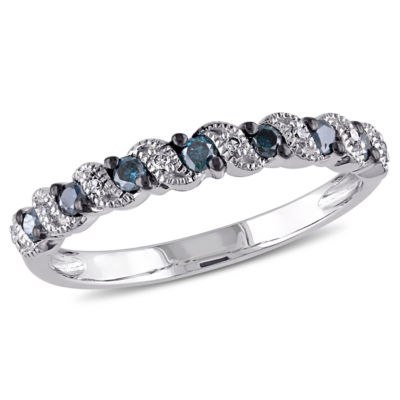 Womens 1/4 CT. T.W. Blue Diamond 10K Gold Wedding Band