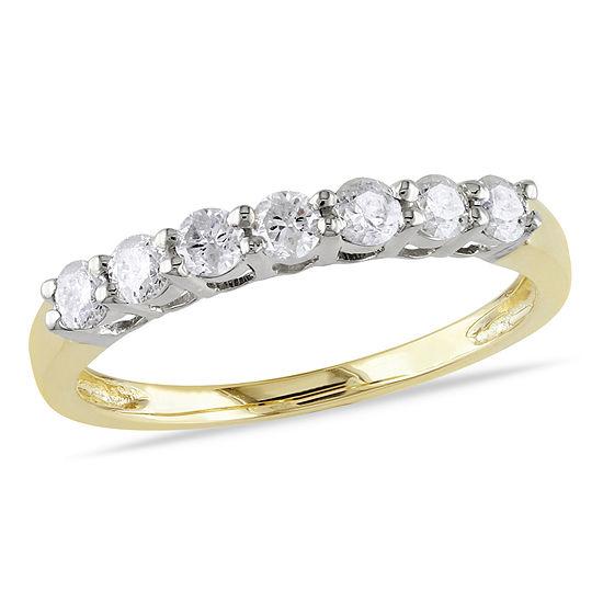 Womens 1/2 CT. T.W. Genuine White Diamond 14K Gold Wedding Band