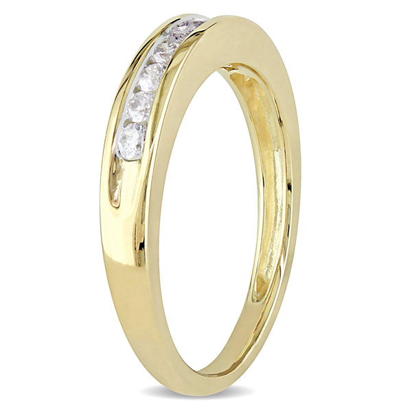 Womens 1/4 CT. T.W. Genuine White Diamond 10K Gold Wedding Band