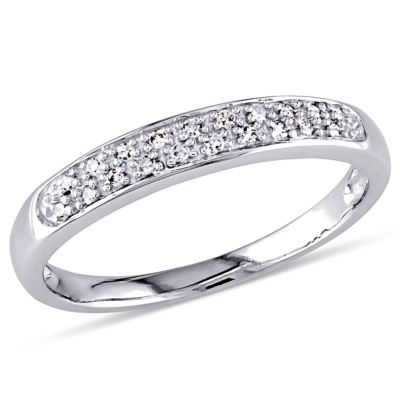 Womens 1/10 CT. T.W. Genuine White Diamond 10K Gold Wedding Band
