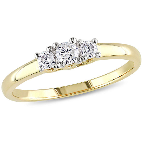 Love Lives Forever Womens 1/4 CT. T.W. Genuine White Diamond 10K Gold 3-Stone Engagement Ring