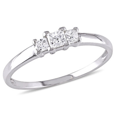 Love Lives Forever Womens 1/4 CT. T.W. Genuine White Diamond 10K Gold 3-Stone Engagement Ring
