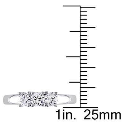 Love Lives Forever Womens 1/2 CT. T.W. Genuine White Diamond 14K Gold 3-Stone Ring