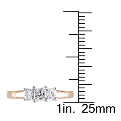 Love Lives Forever Womens 1/2 CT. T.W. Genuine White Diamond 14K Gold 3-Stone Engagement Ring