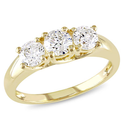 Love Lives Forever Womens 1 CT. T.W. Genuine White Diamond 14K Gold 3-Stone Ring