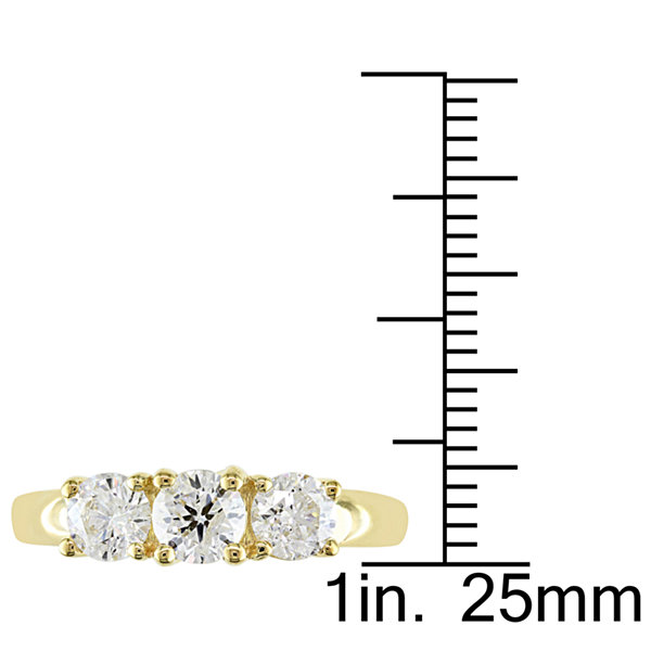 Love Lives Forever Womens 1 CT. T.W. Genuine Round White Diamond 14K Gold 3-Stone Ring