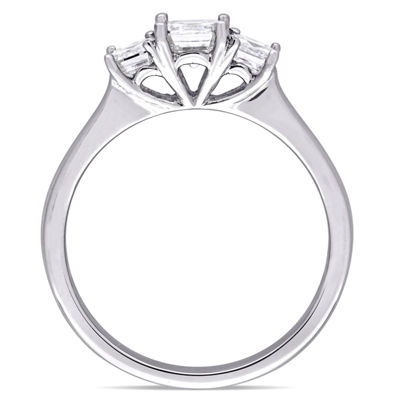 Love Lives Forever Womens 1 CT. T.W. Genuine White Diamond 14K Gold 3-Stone Engagement Ring