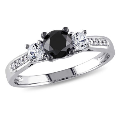 Love Lives Forever Womens 1 1/10 CT. T.W.  Black Diamond 10K Gold 3-Stone Ring