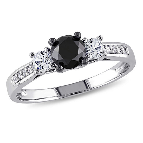 Love Lives Forever Womens 1 1/10 CT. T.W.  Genuine Black Diamond 10K Gold 3-Stone Engagement Ring