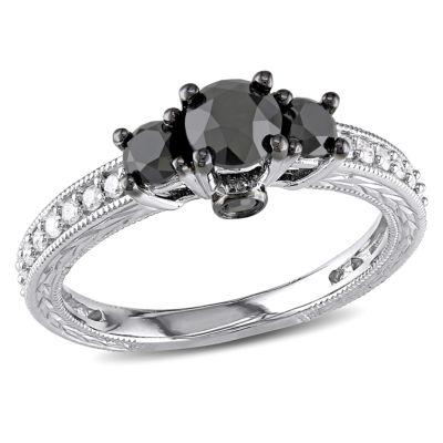 Love Lives Forever Womens 1 1/4 CT. T.W. Color Enhanced Round Black Diamond 10K Gold 3-Stone Ring