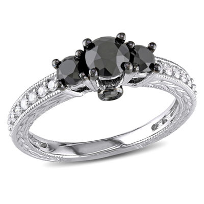 Love Lives Forever Womens 1 1/4 CT. T.W. Black Diamond 10K Gold 3-Stone Ring