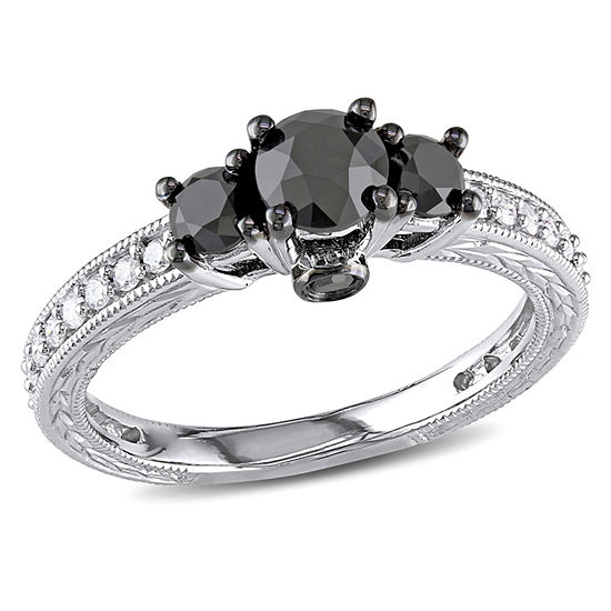 Love Lives Forever Womens 1 1/4 CT. T.W. Genuine Black Diamond 10K Gold 3-Stone Engagement Ring