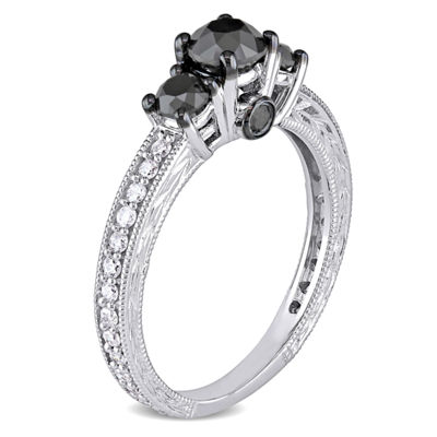 Love Lives Forever Womens 1 1/4 CT. T.W. Black Diamond 10K Gold 3-Stone Engagement Ring