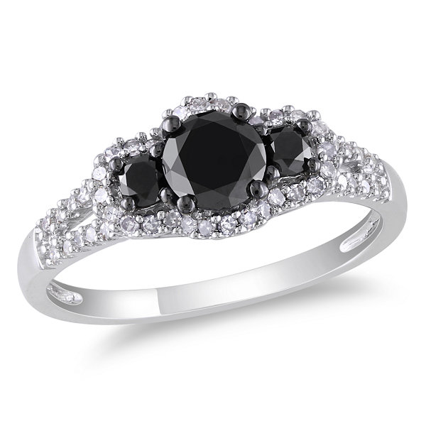 Love Lives Forever Womens 1 CT. T.W. Color Enhanced Round Black Diamond 14K Gold 3-Stone Ring