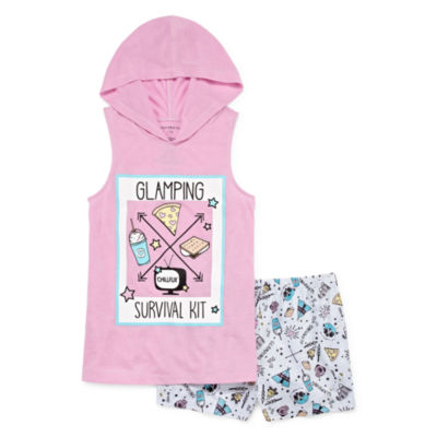 Hooded 2pc Short Pajama Set - Girls