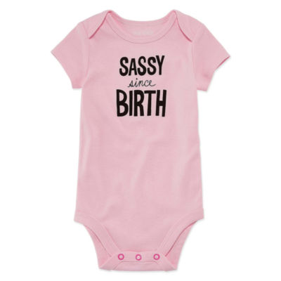 "Okie Dokie ""Sassy Since Birth"" Short Sleeve Slogan Bodysuit - Baby NB-24M"