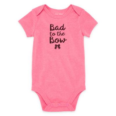"Okie Dokie ""Bad to the Bow"" Short Sleeve Slogan Bodysuit - Baby NB-24M"