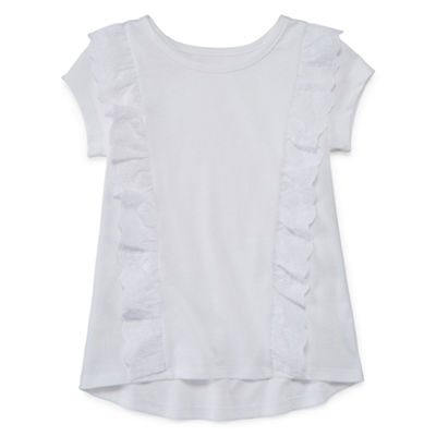 Okie Dokie Short Sleeve Eyelet Ruffle T-Shirt-Toddler Girls