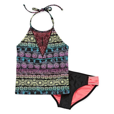 Arizona Girls Geometric Tankini Set Plus - Big Kid