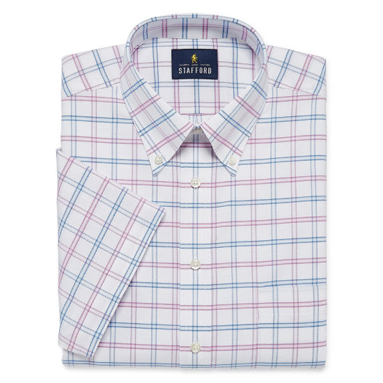 Stafford Travel Wrinkle Free Oxford Short Sleeve Short Sleeve Oxford Checked Dress Shirt
