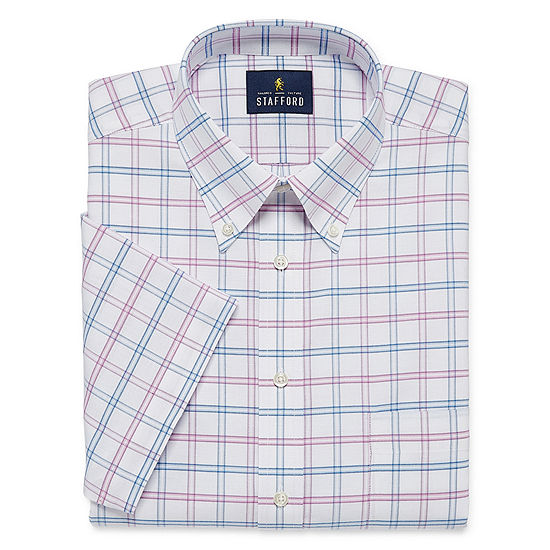 Stafford Travel Wrinkle Free Oxford Short Sleeve Mens Button Down Collar Short Sleeve Wrinkle Free Dress Shirt