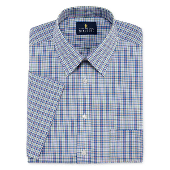 Stafford Travel Easy Care Broadcloth Short Sleeve Short Sleeve Broadcloth Plaid Dress Shirt