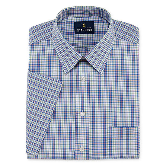 Stafford Travel Easy Care Broadcloth Short Sleeve Mens Point Collar Short Sleeve Dress Shirt