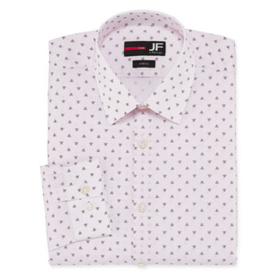 JF J.Ferrar Easy-Care Solid Long Sleeve Broadcloth Geometric Dress Shirt - Slim