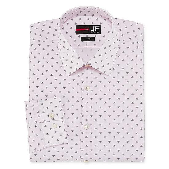 JF J.Ferrar Easy-Care Solid Mens Spread Collar Long Sleeve Stretch Dress Shirt - Slim