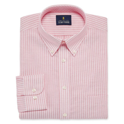 Stafford Travel Wrinkle Free Oxford Long Sleeve Oxford Stripe Dress Shirt