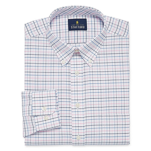 Stafford Travel Wrinkle Free Long-Sleeve Oxford Pattern Dress Shirt