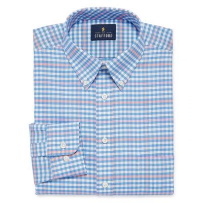 Stafford Travel Wrinkle Free Oxford Long Sleeve Oxford Gingham Dress Shirt