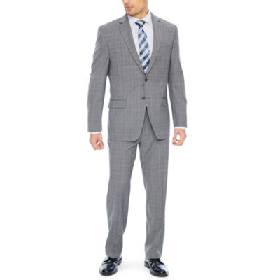 Collection by Michael Strahan Grey Windowpane Classic Fit Suit