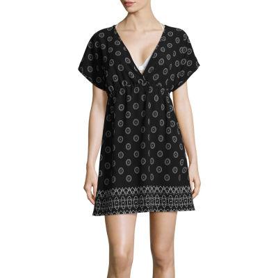 Porto Cruz Geometric Chiffon Swimsuit Cover-Up Dress