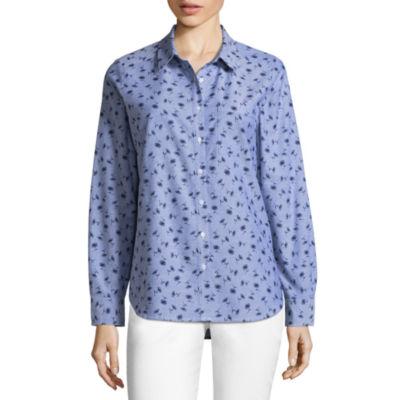 Liz Claiborne Long Sleeve Button-Front Shirt-Talls
