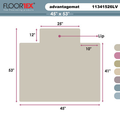 Cleartex Advantagemat PVC Clear Chair Mat for Standard Pile Carpets (3/8IN or less) Rectangular withLip