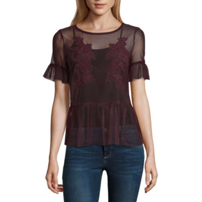 Belle + Sky Lone+Lux Short Sleeve Embroidered Mesh Top