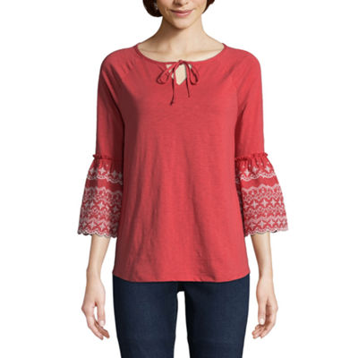 St. John's Bay Embroidered 3/4 Sleeve Bell Sleeve Eyelet Peasant Top