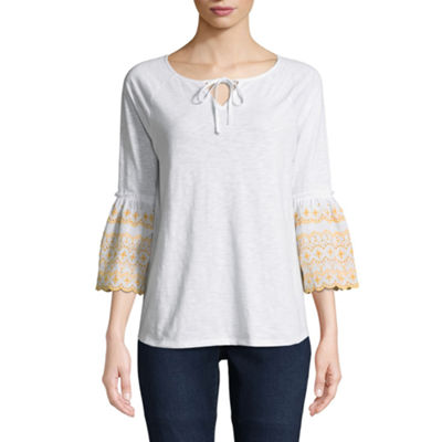 St. John's Bay Embroidered 3/4 Bell Sleeve Eyelet Peasant Top